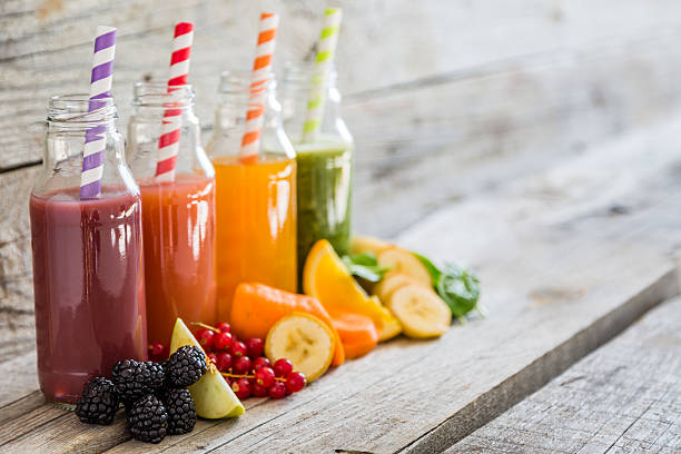 Selection of colorful smoothies stock photo