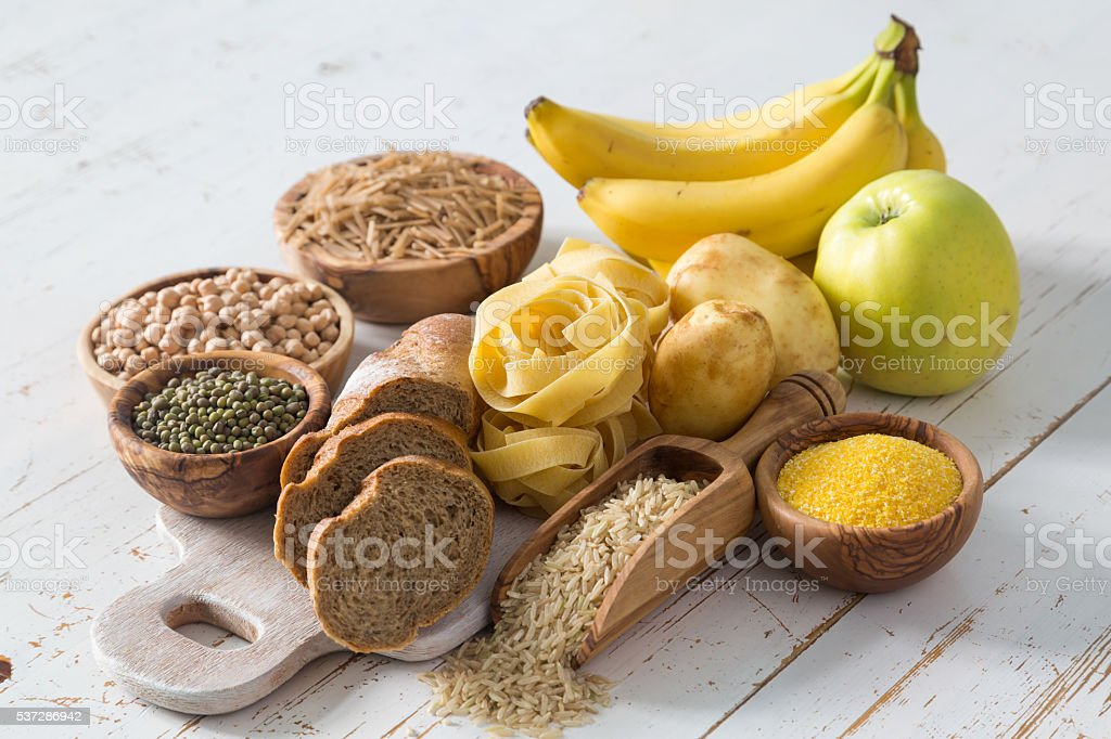 Selection of comptex carbohydrates sources on white background stock photo