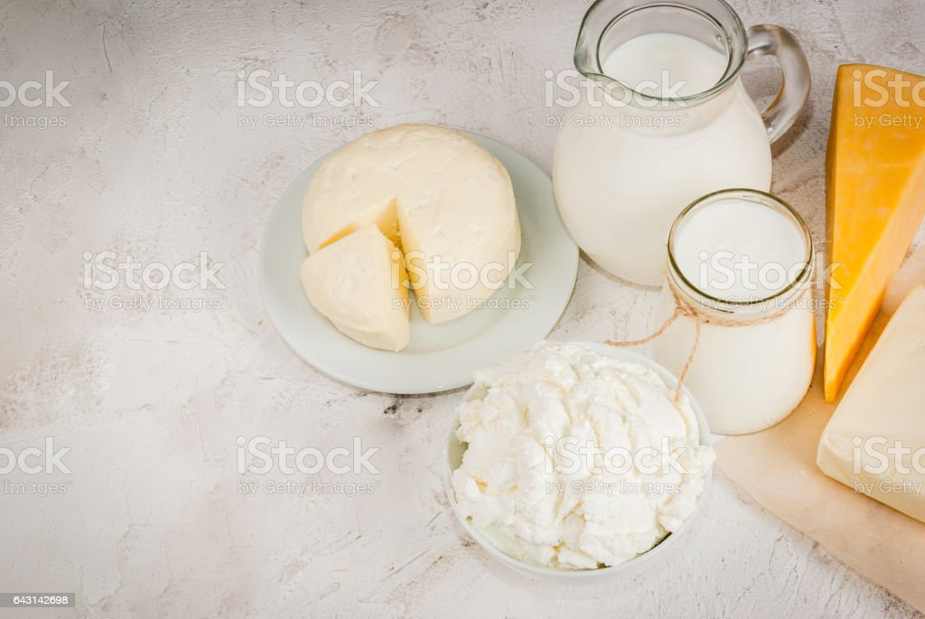 Selection of organic farming household dairy products - milk, cream ,...