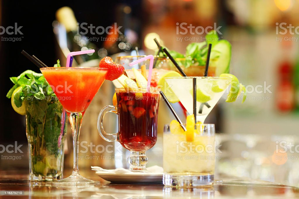 A selection of different colorful cocktails stock photo