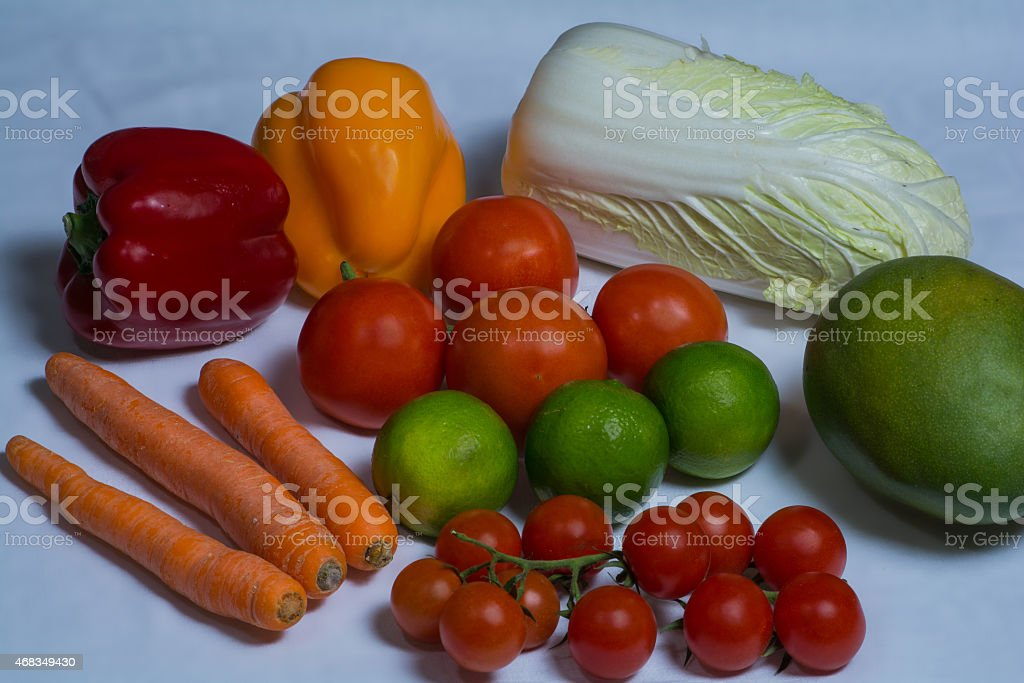 Selection of different fruits and vegetables royalty-free stock photo