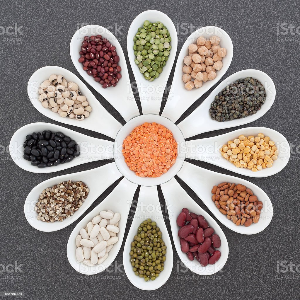 Selection of dried beans, lentils and peas royalty-free stock photo