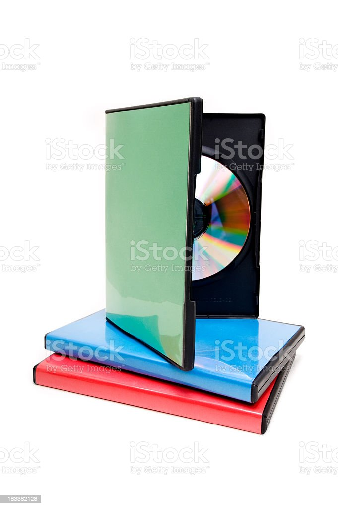 A selection of DVD cases for movie nights. stock photo