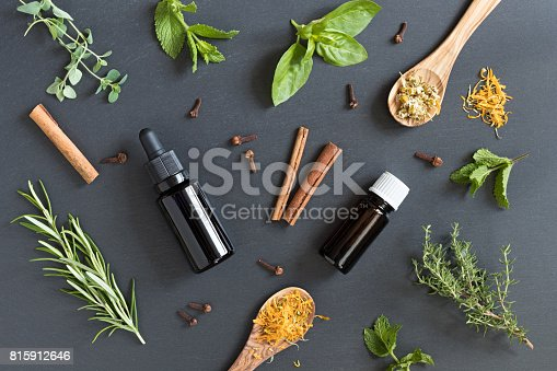 istock Selection of essential oils and herbs 815912646