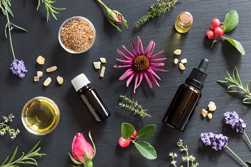 istock Selection of essential oils and herbs 860611034