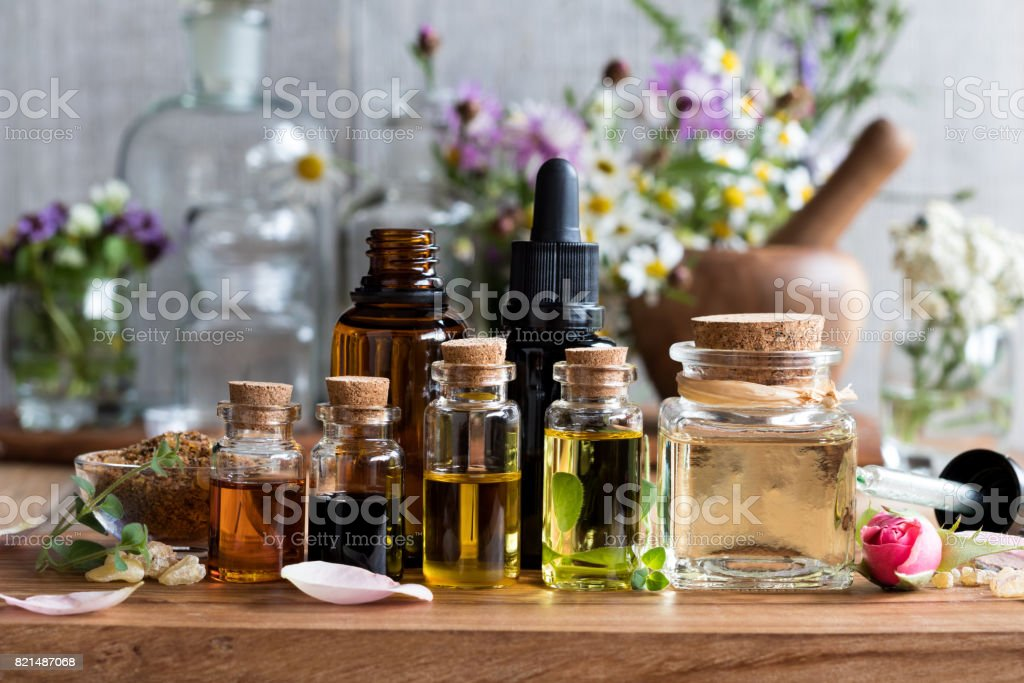 Selection of essential oils stock photo