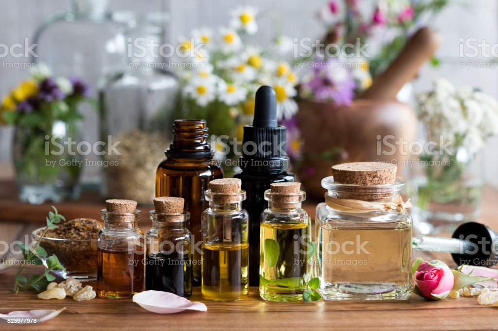 Selection of essential oils - foto stock