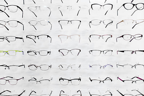 Selection of eyeglasses stock photo