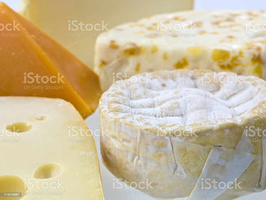 Selection of fancy cheeses close up royalty-free stock photo