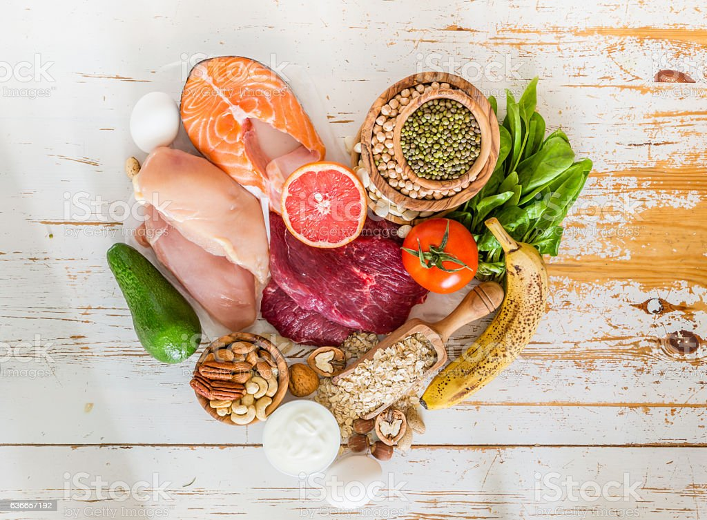 Selection of food for weight loss stock photo