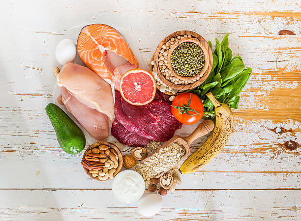 selection of food for weight loss - fat nutrient stock photos and pictures