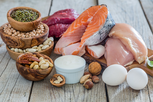 Selection of food for weight loss, copy space