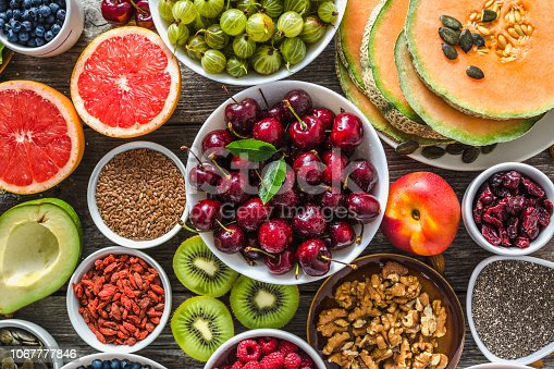 904734850istockphoto Selection of food, fresh fruits and vegetables, berries, nuts and seeds. Healthy eating concept 1067777846