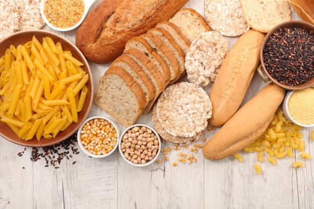 selection of food gluten free - impasto per il pane foto e immagini stock