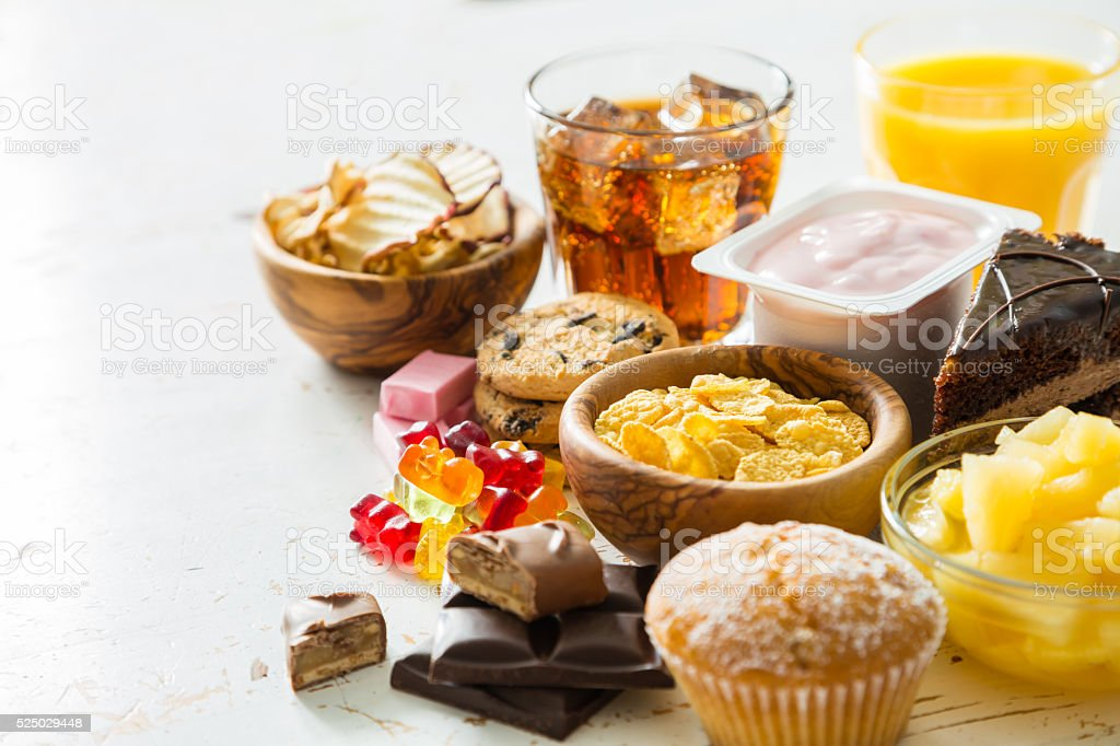 Selection of food high in sugar stock photo