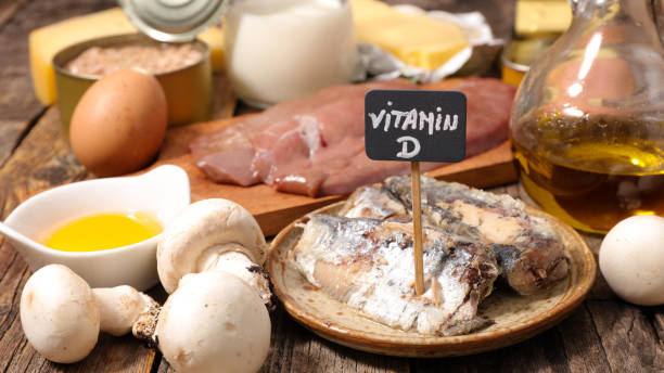 selection of food high in vitamin d stock photo