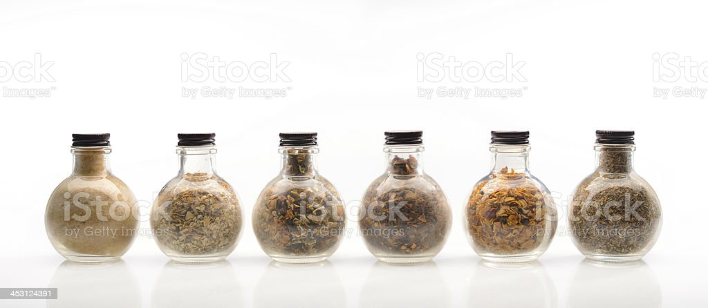 Selection of food spices on white royalty-free stock photo