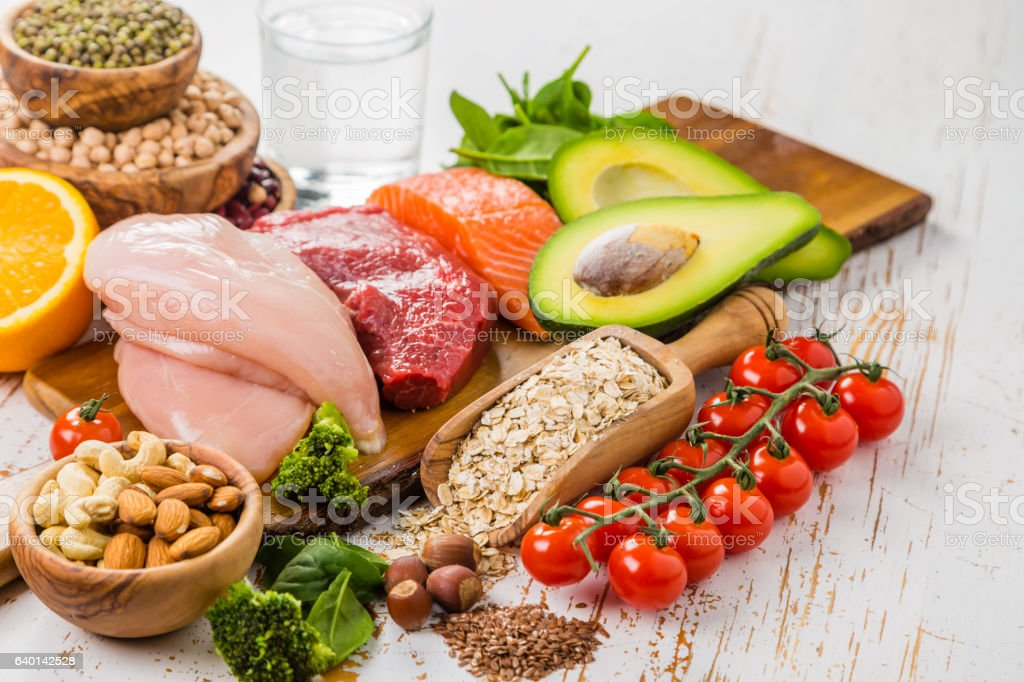 Selection of food that is good for the health and stock photo