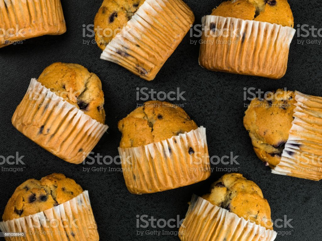 Selection of Fresh Blueberry Muffins royalty-free stock photo