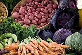 Abundant fresh produce piled high at a farmers market.  Check out my