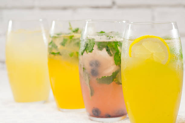selection of fruits long drinks stock photo