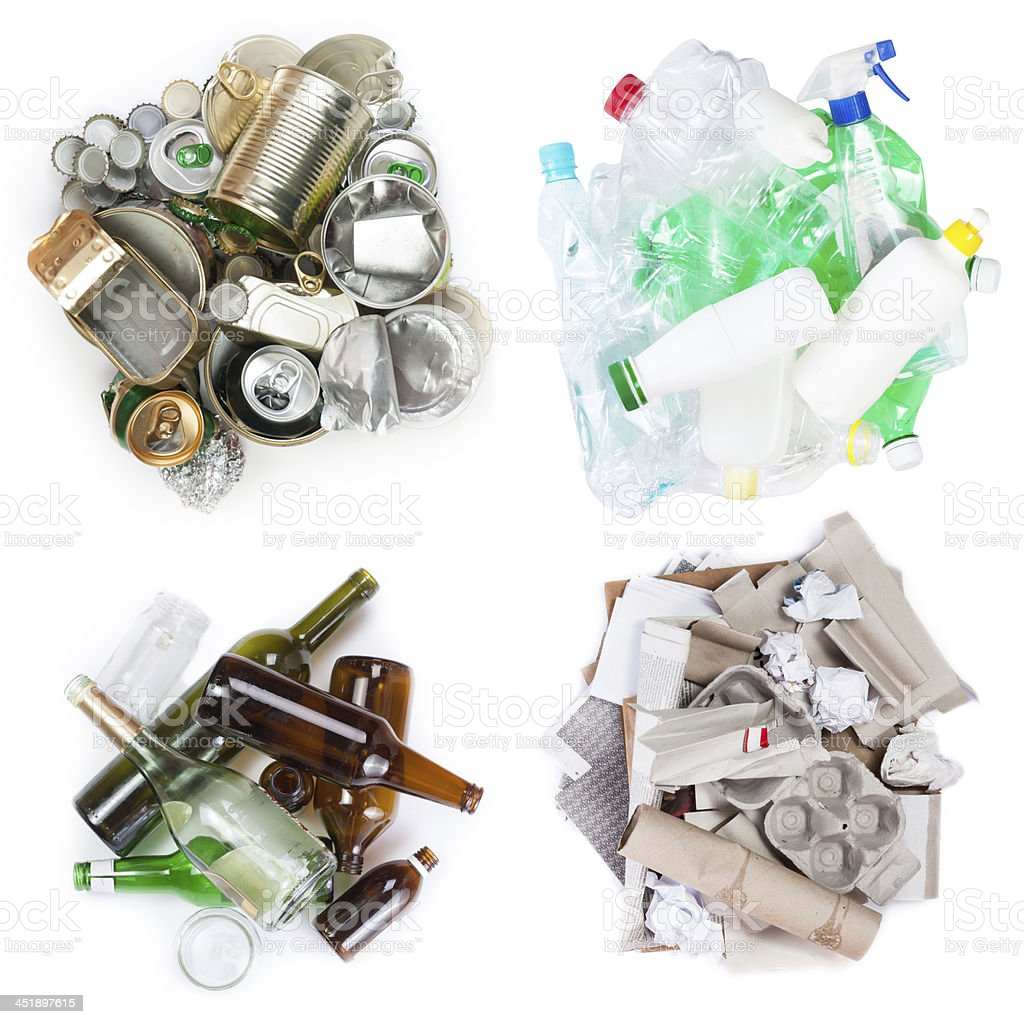 Selection of garbage for recycling stock photo