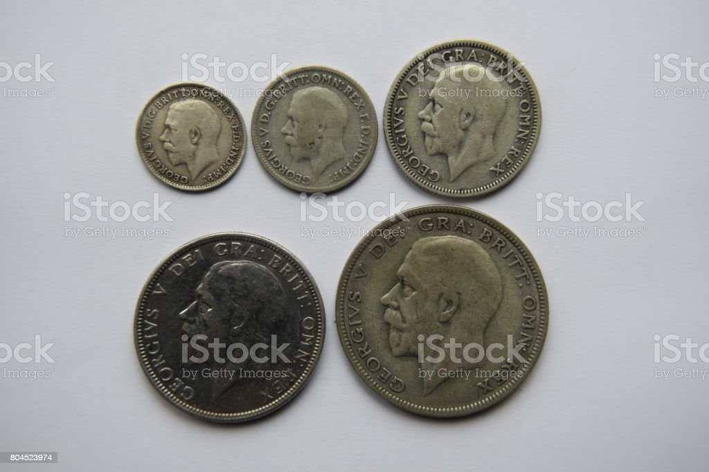 Selection of George VI silver coins, obverse stock photo