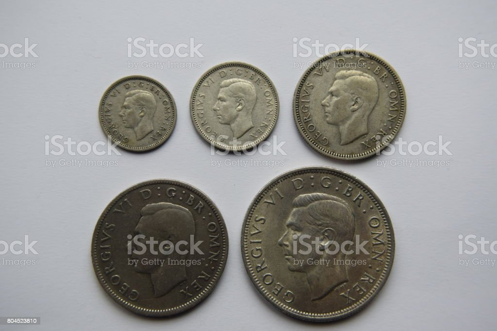 Selection of George VI silver coins stock photo
