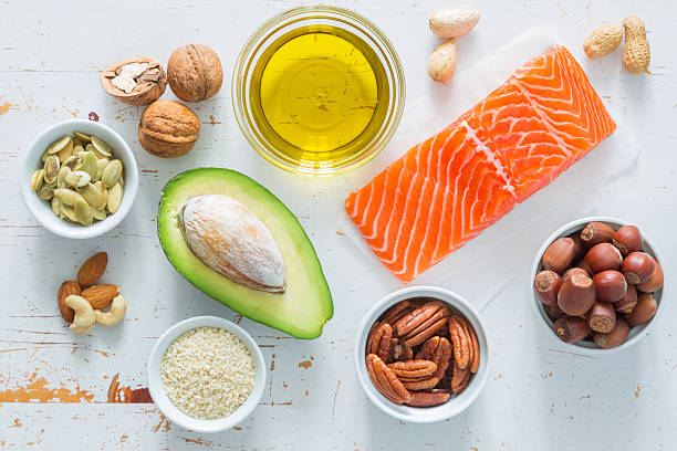 selection of good fat saurces - fat nutrient stock photos and pictures