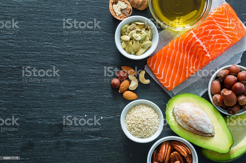 Selection of good fat saurces stock photo
