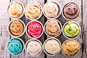 Selection of gourmet flavours of Italian ice cream in vibrant