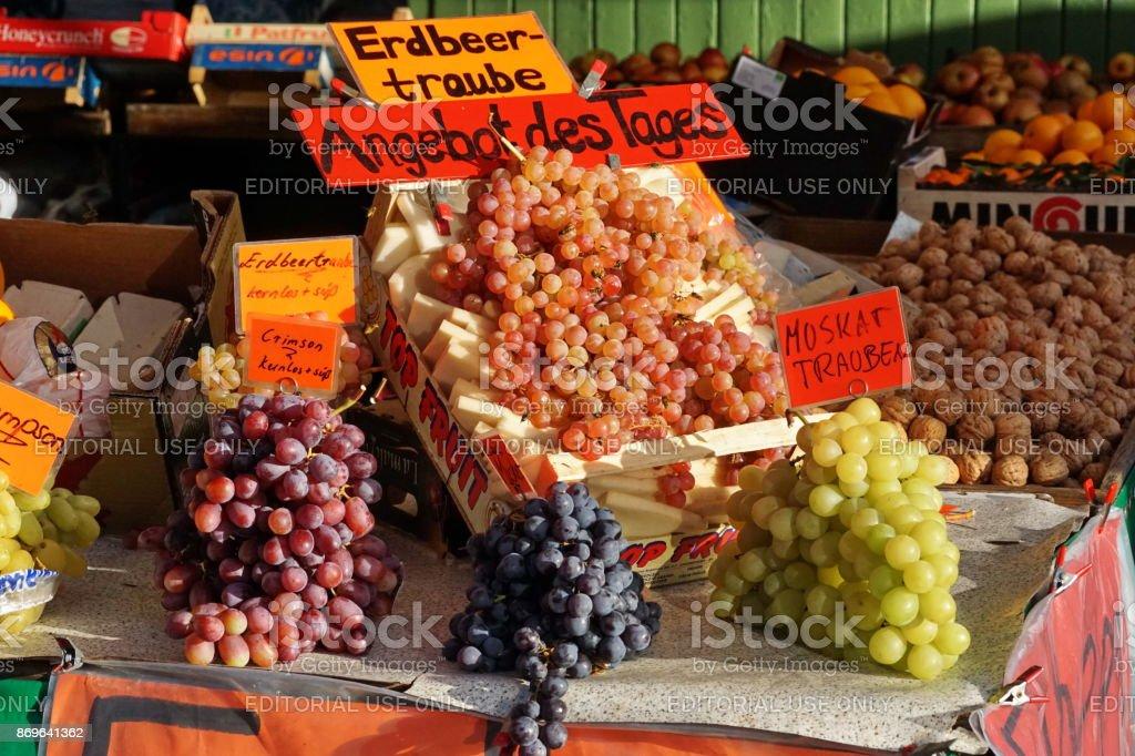 Selection of grapes at the Viktualienmarkt. Munich, Bavaria. stock photo
