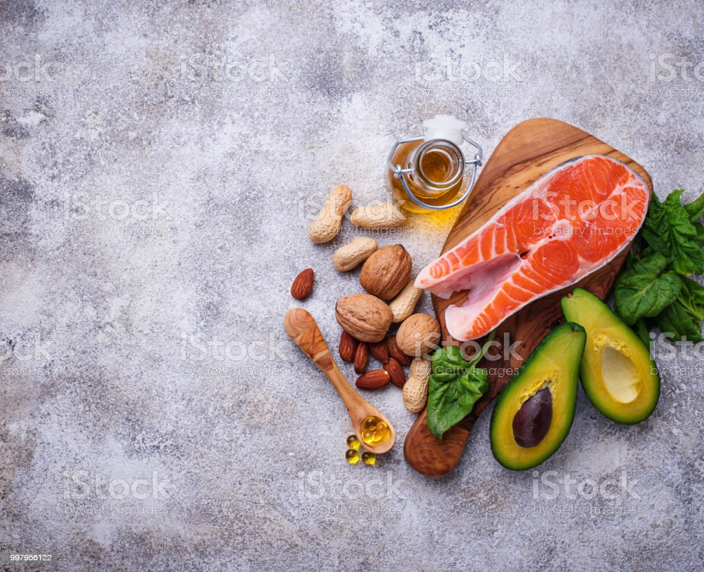 Selection of healthy fat and omega 3 sources. Pruducts and fish oil...