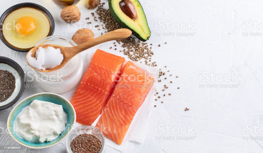 Selection of healthy fat sources. Healthy diet eating concept.Top...