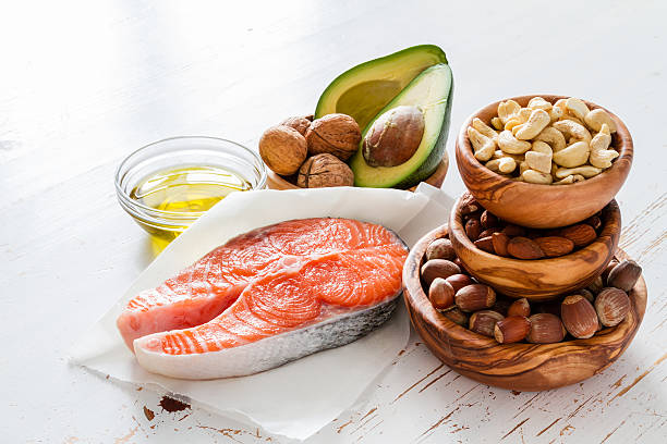 selection of healthy fat sources - fat nutrient stock photos and pictures