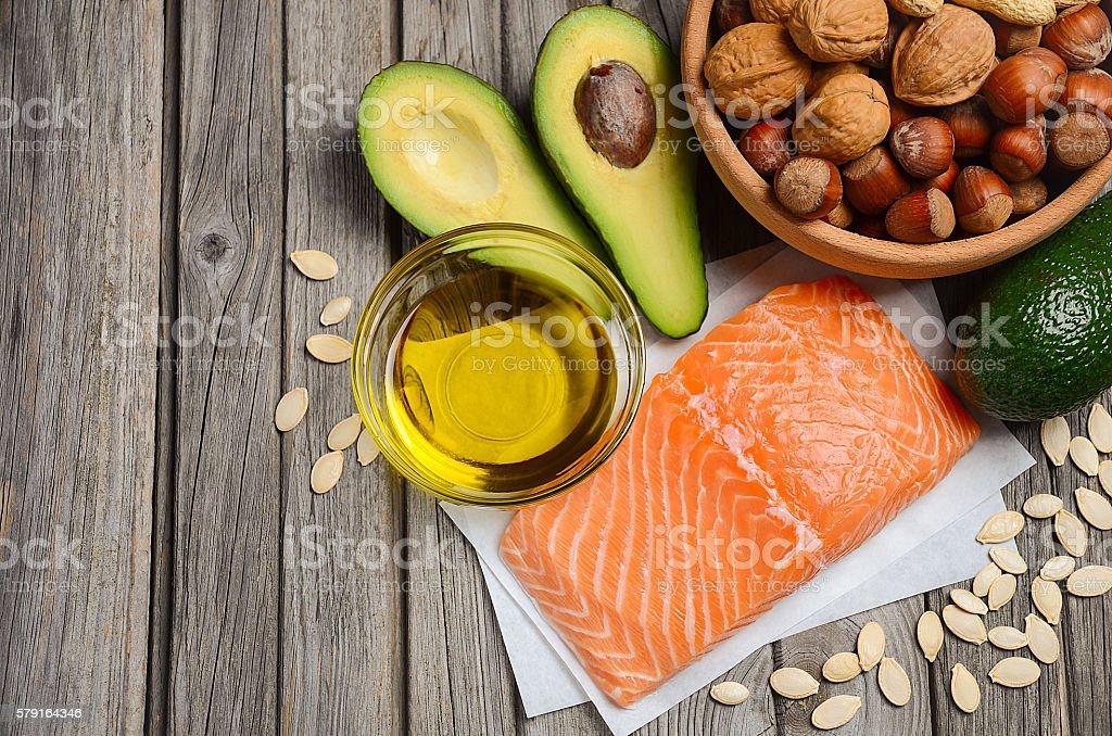 Selección de opciones saludables fuentes de grasa - foto de stock