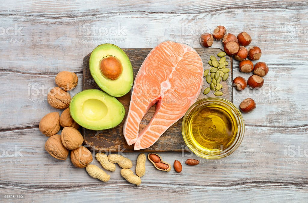 Selection of healthy fat sources. Selection of healthy fat sources. Top view. Fat - Nutrient Stock Photo