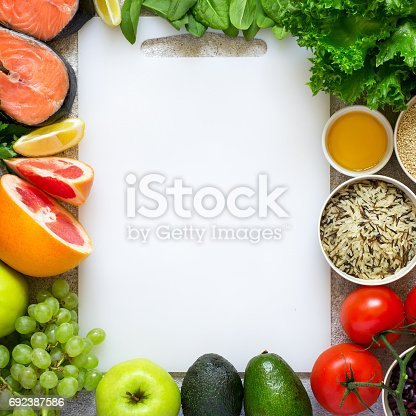 istock Selection of healthy food for heart, diet, detox. Top view with 692387586