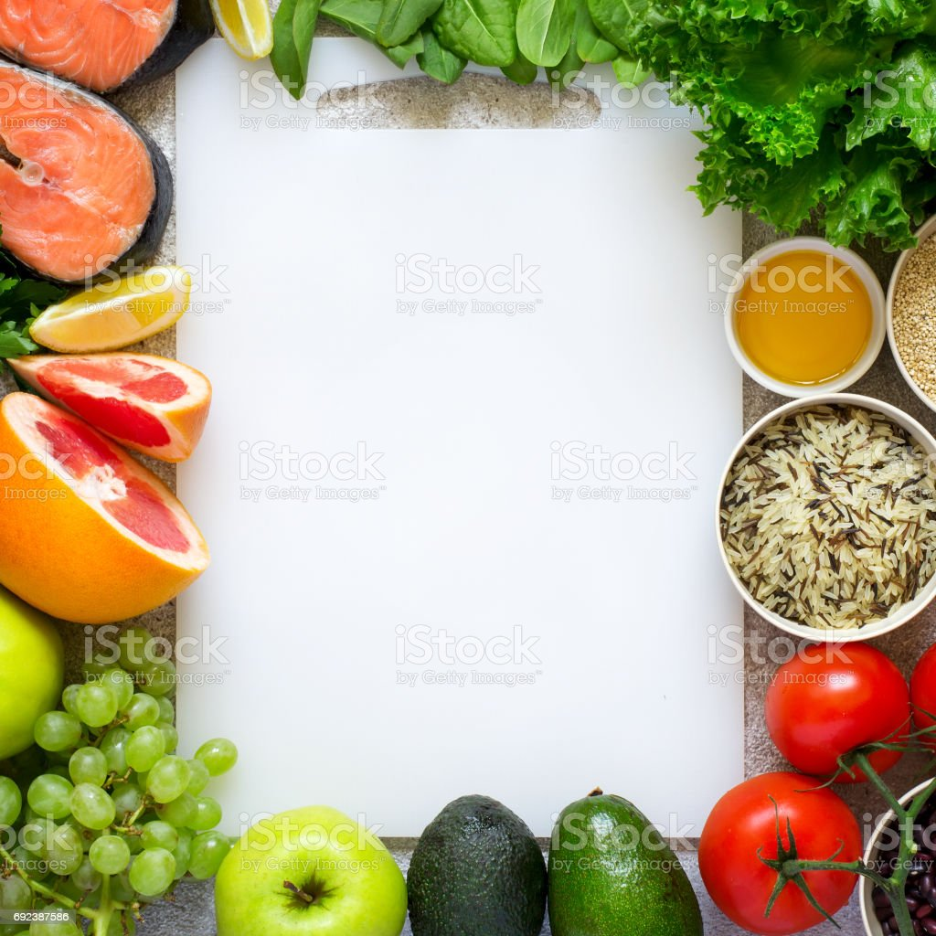 Selection of healthy food for heart, diet, detox. Top view with stock photo