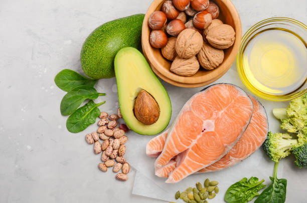Selection of healthy food for heart, life concept. stock photo