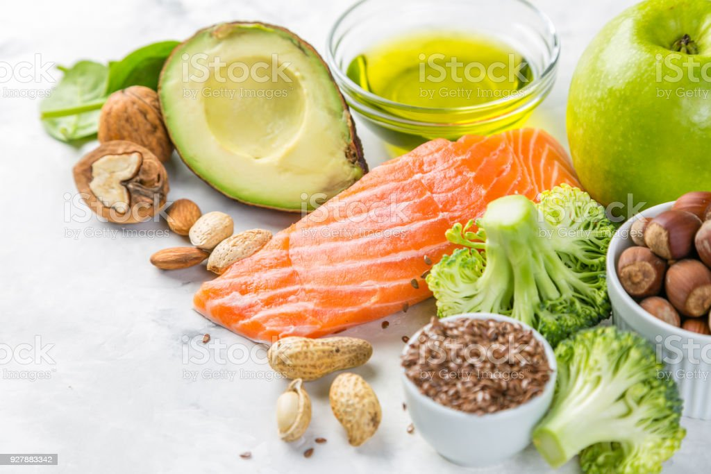 Selection of healthy food sources - healthy eating concept. Ketogenic diet concept stock photo