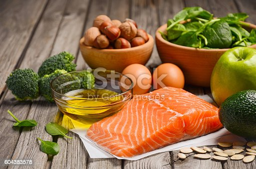 istock Selection of healthy products. Balanced diet concept. 604383578