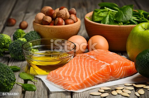 istock Selection of healthy products, balanced diet concept. 647644392