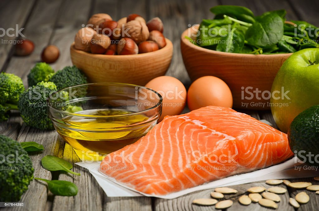 Selection of healthy products, balanced diet concept. stock photo