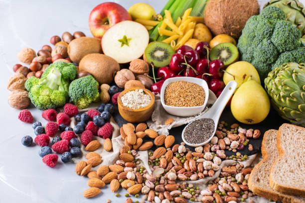 Selection of healthy rich fiber sources vegan food for cooking stock photo