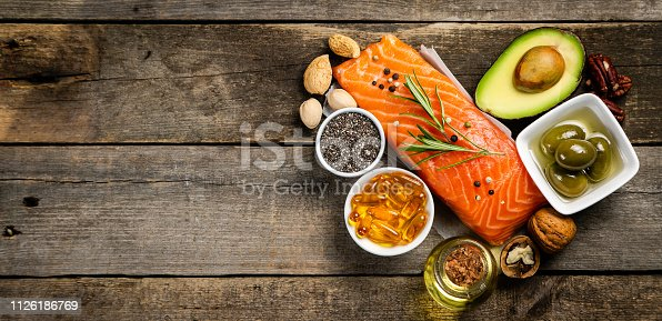 istock Selection of healthy unsaturated fats, omega 3 1126186769