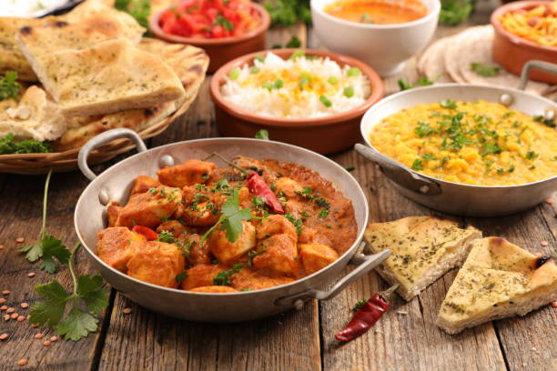 selection of indian food stock photo