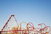 Roller-coaster, UK east coast, blue sky copy space.