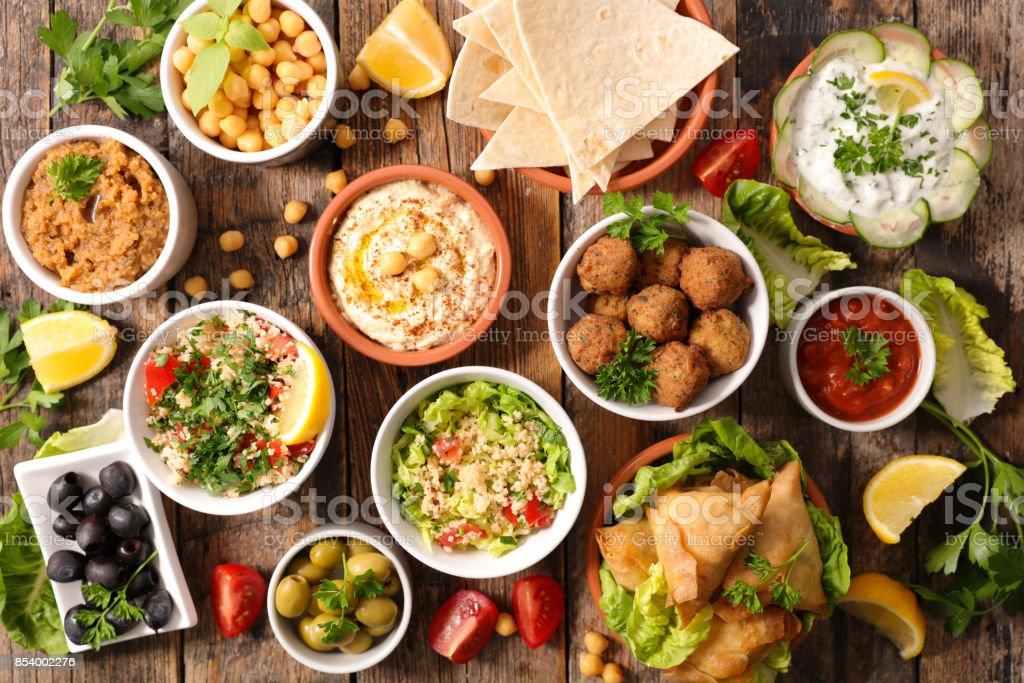selection of libanese food mezze stock photo