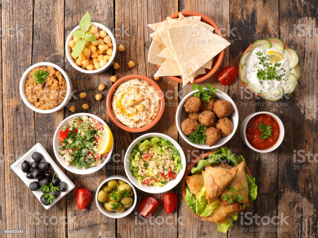 selection of libanese food mezze stock photo